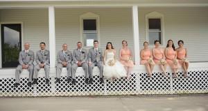 A sitting wedding party.