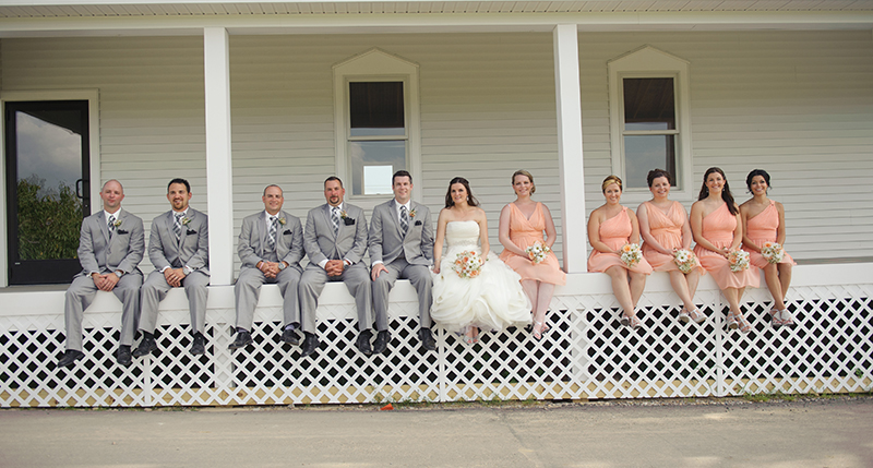 A sitting wedding party.