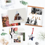 Photobook's Christmas products. Readybook, hanging canvas, ornament, greeting cards.