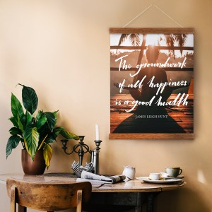 Personalisable hanging canvas for fitness motivation.