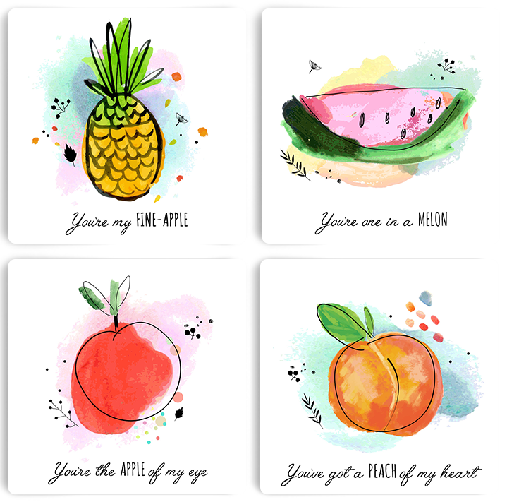 Punny Fruits Personalised Set of 4 Coasters