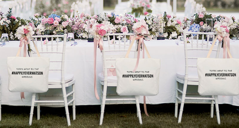 Photobook Canvas Tote Bags As Personalised Wedding Favours.