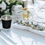 Photobook shot glasses as personalised wedding favours.