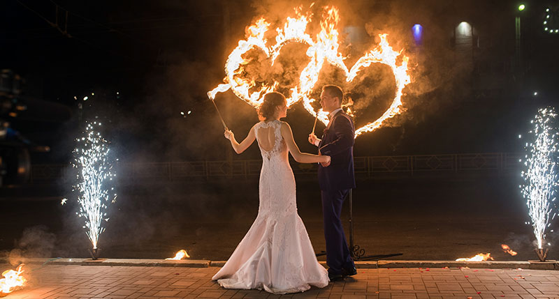 Wedding Couple With Hearts On Fire