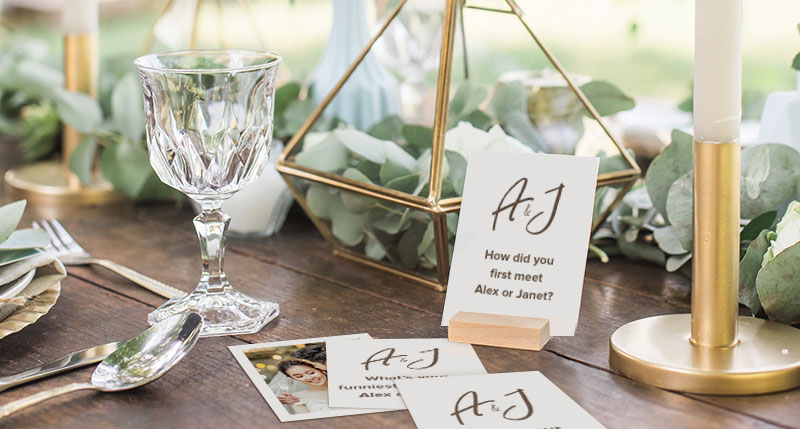 Photobook Insta Cards Made Into Icebreaker Cards For Wedding Guests.
