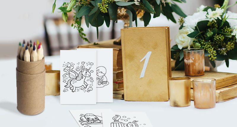 Photobook's Maxi Insta Cards Turned Into Kids' Colouring Cards To Entertain Children At Weddings.