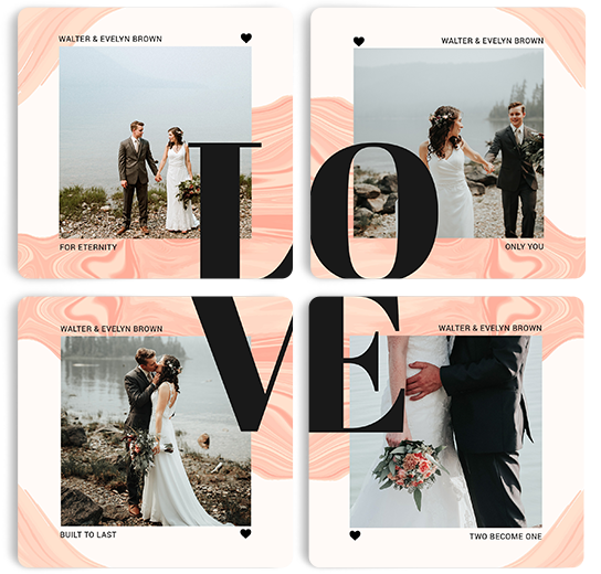 Photobook Love Life Set Of 4 Coasters